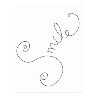 cute smile doodle black white design postcard