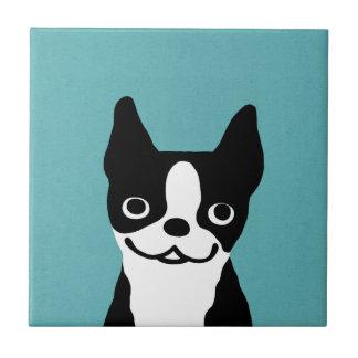 Cute Smiley Boston Terrier Small Square Tile