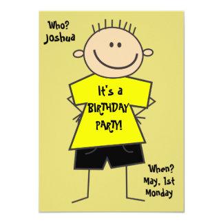 Cute Smiley Boy Stick Figure Birthday Invitation