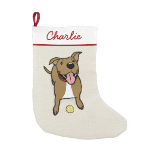 Cute Smiley Cartoon Dog with Custom Text Small Christmas Stocking
