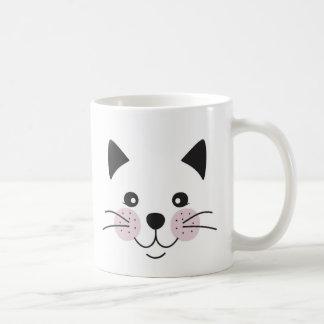 Cute, smiley cat face coffee mug