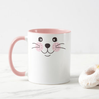 Cute, smiley cat face mug