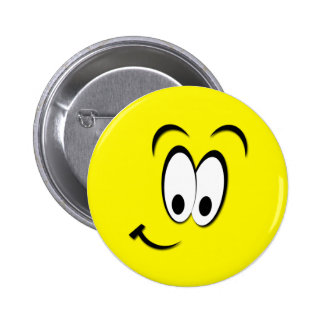 CUTE SMILEY FACE 6 CM ROUND BADGE