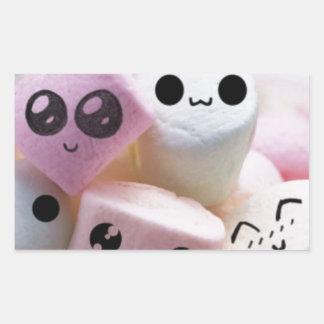 cute smiley face marshmallows rectangular sticker