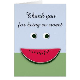 Cute Smiley Face Watermelon Slice Thank You Card