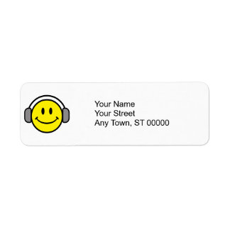 cute smiley face with headphones return address label