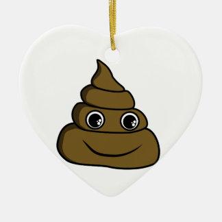 cute smiley poop ceramic ornament