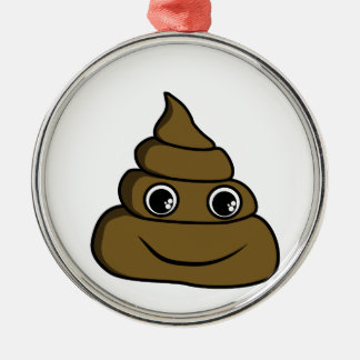 cute smiley poop metal ornament
