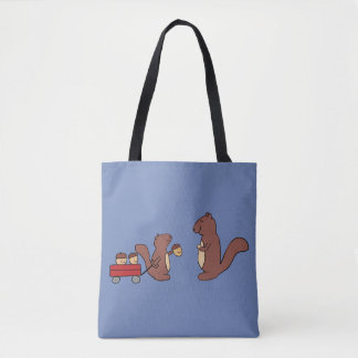 Cute smiley squirrel sharing a wagon of acorns tote bag