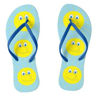 Cute Smiley Sun Pattern Light Blue Thongs