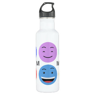 Cute Smileys custom monogram water bottles