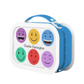 Cute Smileys custom name lunch boxes