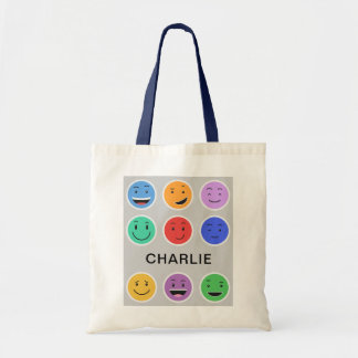 Cute Smileys custom name tote bags