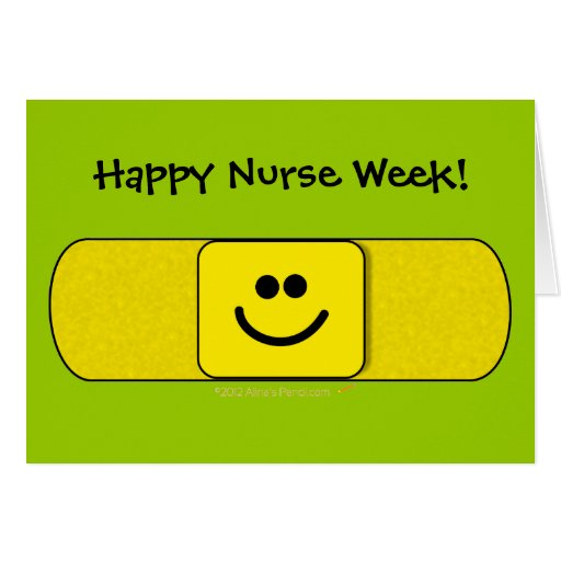 Cute Smiling Bandaid Happy Nurse Week Customizable Card