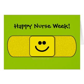 Cute Smiling Bandaid Happy Nurse Week Customizable Greeting Card