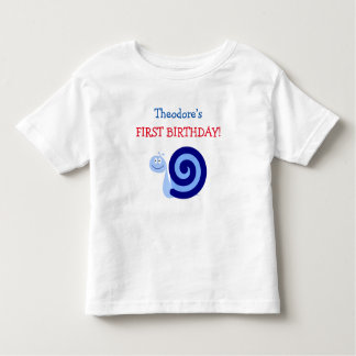 Cute Smiling Blue Snail Character + First Birthday Toddler T-Shirt