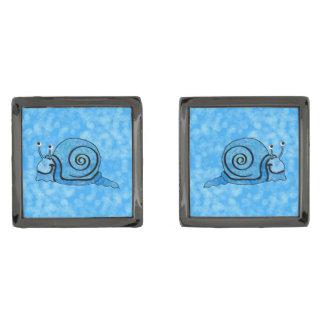 Cute Smiling Cartoon Blue Snail Gunmetal Finish Cufflinks