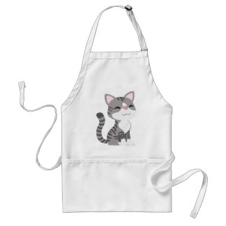 Cute Smiling Gray Tabby Cat Standard Apron