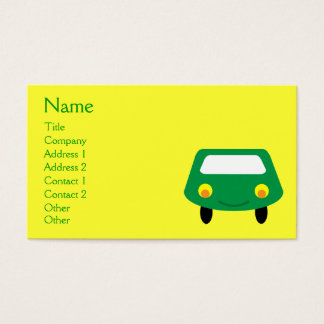 Cute Smiling Green Cartoon Car Yellow Custom Business Card