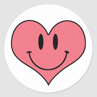 Cute Smiling Heart, Valentine's Love Sweetheart Classic Round Sticker