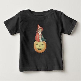 Cute Smiling Jack O Lantern Witch Black Cat Baby T-Shirt