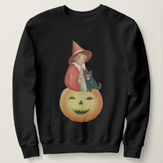 Cute Smiling Jack O Lantern Witch Black Cat Sweatshirt