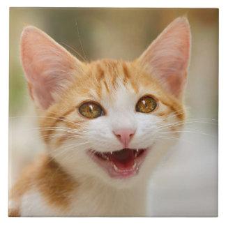 Cute Smiling Kitten Funny Cat Meow Quadrat Ceramic Large Square Tile