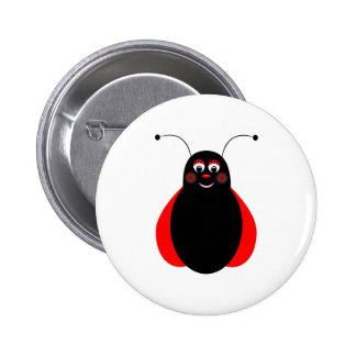 Cute Smiling Ladybug Button