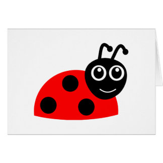 Cute Smiling Ladybug Cartoon Card