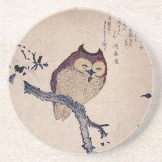 Cute Smiling Owl Japanese Print Drink Coaster