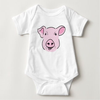 Cute Smiling Pink Pig Face Illustration Baby Bodysuit