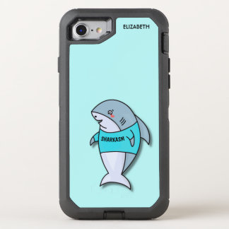 Cute Smiling Shark In Cool Shirt Funny Design OtterBox Defender iPhone 8/7 Case