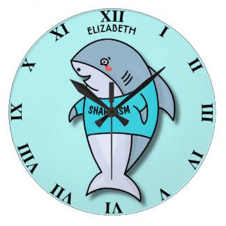 Cute Smiling Shark In Cool Shirt Funny Large Clock