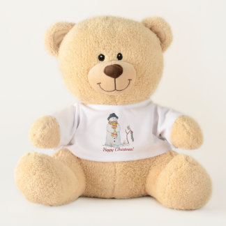 Cute smiling snowman note for santa in the snow teddy bear