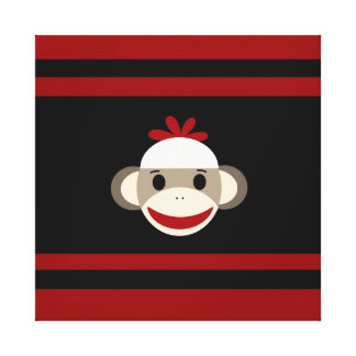 Cute Smiling Sock Monkey Face on Red Black Stretched Canvas Print