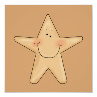Cute Smiling Star Fish Cartoon Character Design 13 Cm X 13 Cm Square Invitation Card