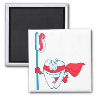 Cute Smiling Superhero Tooth With Toothbrush Square Magnet