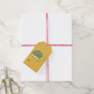 cute smiling tortoise gift tags