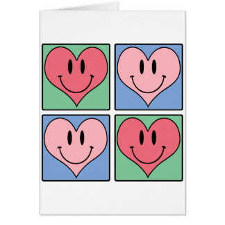 Cute Smiling Valentine's Hearts, I Love You Note Card