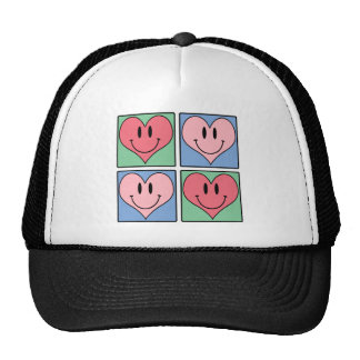 Cute Smiling Valentine's Hearts, I Love You Mesh Hats