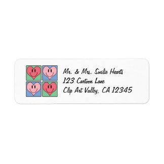Cute Smiling Valentine's Hearts, I Love You Return Address Label