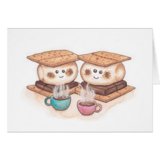 Cute S'mores Couple Coffee Date Card