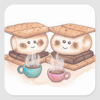 Cute S'mores Couple Coffee Date Square Sticker