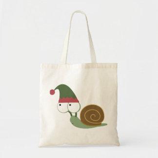 Cute Snail Christmas Elf Budget Tote Bag