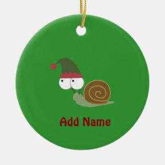 Cute Snail Christmas Elf Round Ceramic Decoration