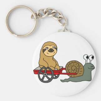 Cute Snail Pulling Sloth in Red Wagon Basic Round Button Key Ring