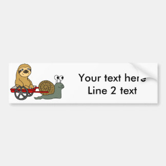 Cute Snail Pulling Sloth in Red Wagon Bumper Sticker