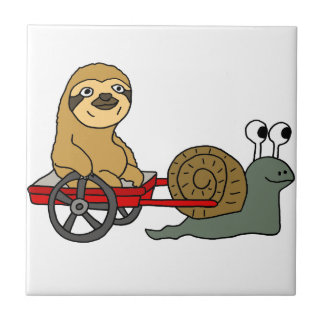 Cute Snail Pulling Sloth in Red Wagon Small Square Tile