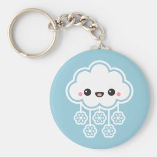 Cute Snow Cloud Basic Round Button Key Ring