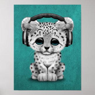 Cute Snow leopard Cub Dj Wearing Headphones Blue Poster